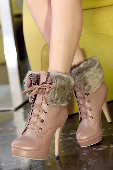 PU Leather Fur Autumn Winter Lace Up Ankle Boots Waterproof Women Shoes