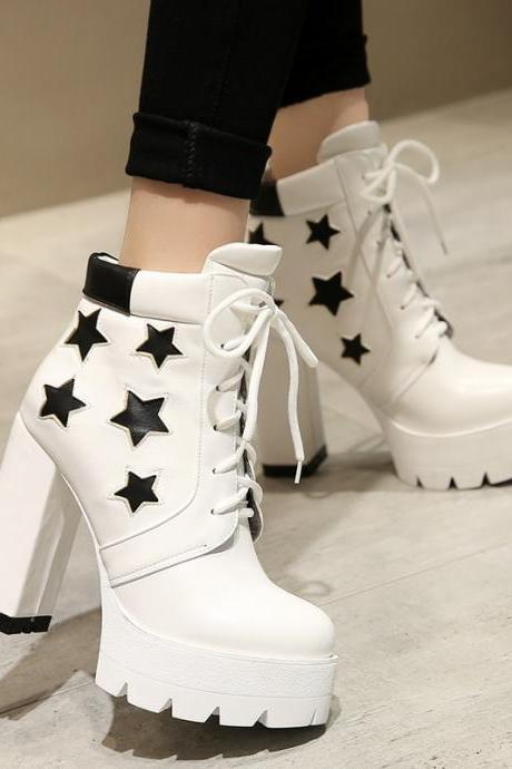 Star Decorate Platform Lace Up High Chunky Heels Short Boots