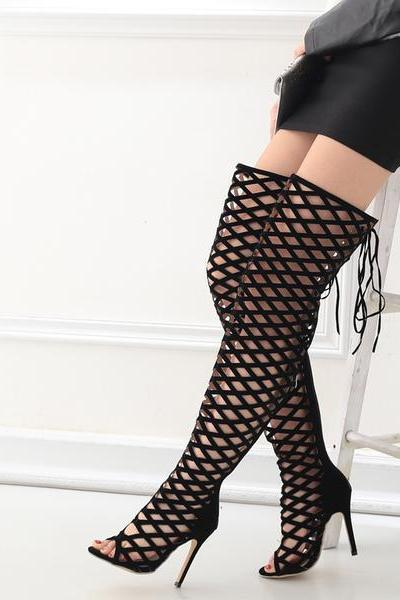 Fashion Hollow Out Peep Toe Stiletto Heel Lace Up Over-knee Boot Sandals