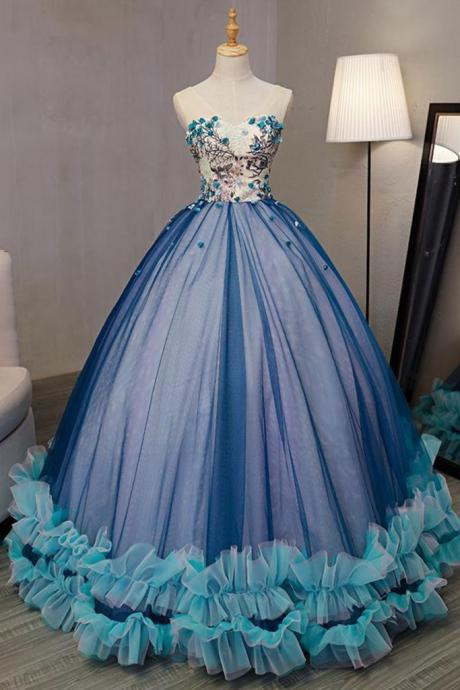 A-line Princess Straight Neck Sleeveless Prom Dresses, Floor Length Dresses