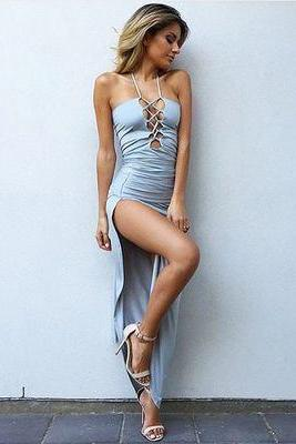 Sexy Sheath Halter Sleeveless Split Side Long Prom Dress