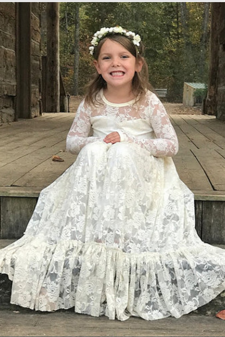 Flower Girl Dress Cute Custom Vintage Girls First Communion Dresses Girl's Pageant Gowns Princess