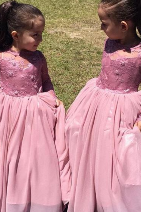 Lace Flower Girls Dresses Floor Length Girls Pageant Wedding Party Dresses Formal Wears