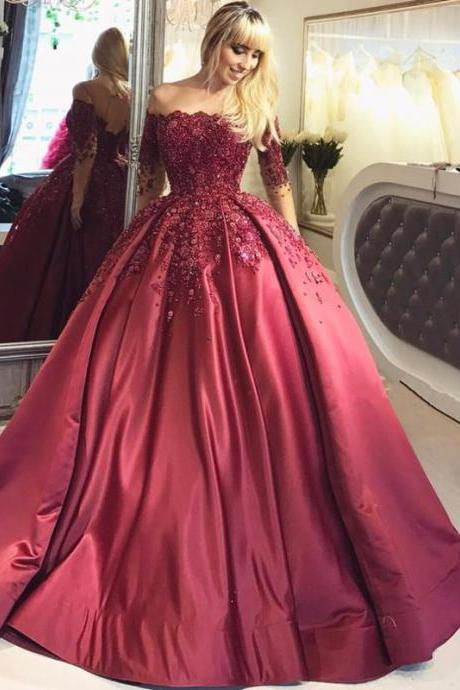 Off-The-Shoulder Long Sleeves Burgundy Prom/Evening Dress With Appliques