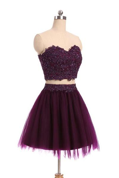 Purple Short Mini A-line Sweetheart Tulle Appliques Lace Beaded Two Pieces Homecoming Dresses