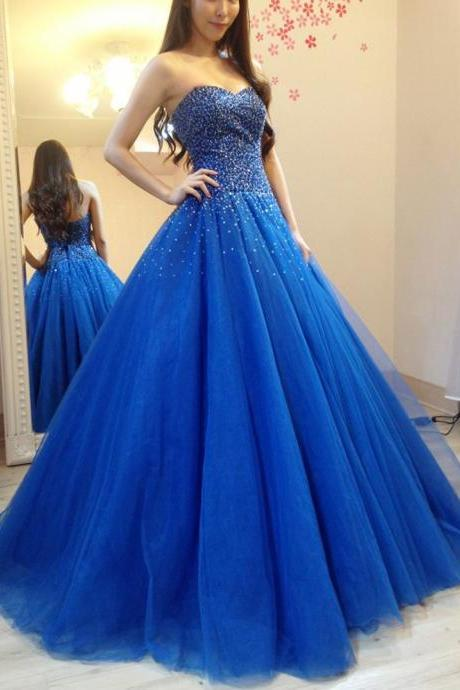 Sparkly Heavy Beaded Sequins Blue Prom Dresses Sexy Long Evening Dress
