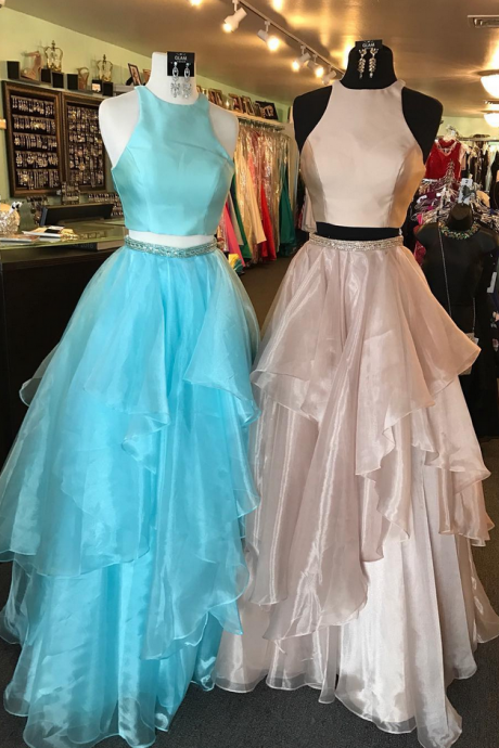 Prom Gowns, Formal Women Dress,High Neck Two Piece A Line Long Organza Blue Prom Dress