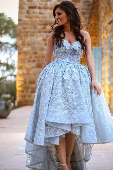 Sweetheart Ball Gowns Prom Plus Size Short Homecoming Dress Long Evening Gowns Hand Made Flowers