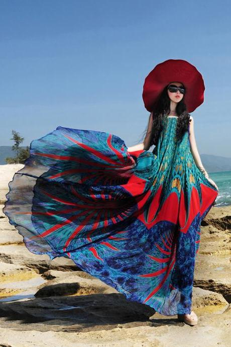 bohemian chiffon dress women summer print beach dress plus size maxi dress