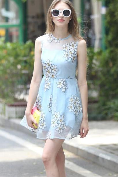 FREE SHIPPING Floral Printed Pastel Blue Organza Dress