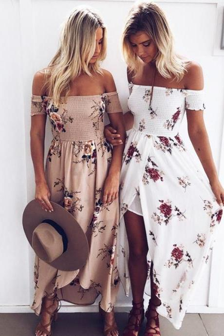 Boho style long dress women Off shoulder beach summer dresses