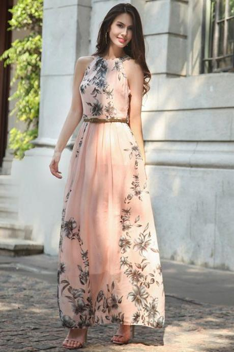Chiffon Floral Print Halter Tunic Sleeveless Pleated Long Maxi Party Boho Dresses