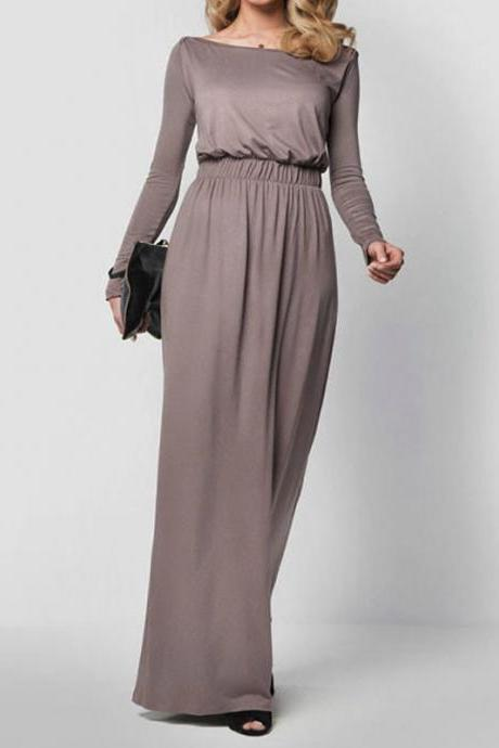 Spring Autumn Casual High Waist Long Party Gown Dresses