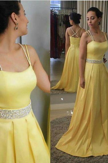 Yellow Prom Dress with Doubled Spaghetti Straps Evening Dresses