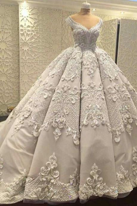 Wedding Ball Gown Prom Dresses,Elegant Prom Gowns ,Applique Evening Dresses,Fashion Prom Dress
