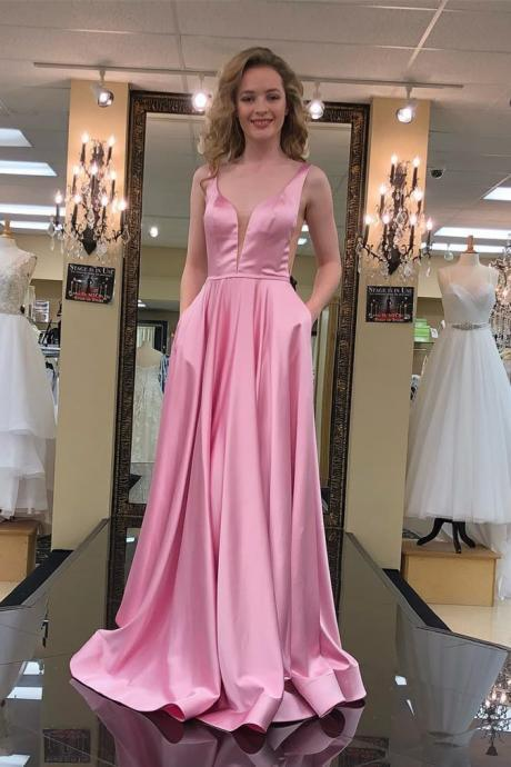 A Line Prom Dress, Sleeveless Prom Dresses, Long Evening Dress