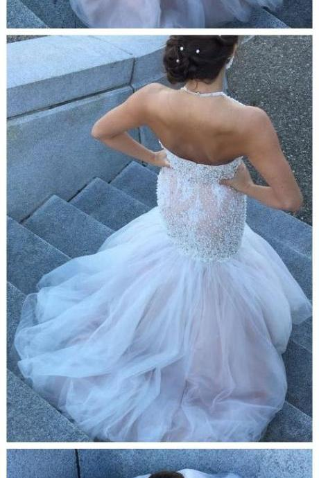 Cheap Ivory Wedding Gowns Halter Beaded Backless Mermaid Wedding Dresses