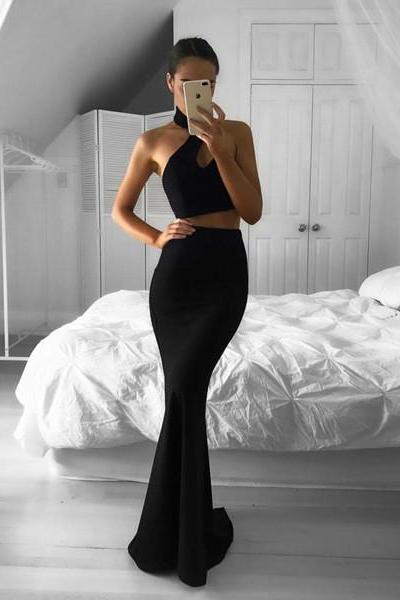 Black Halter Two Piece Formal Gown, Backless Mermaid Prom Dress