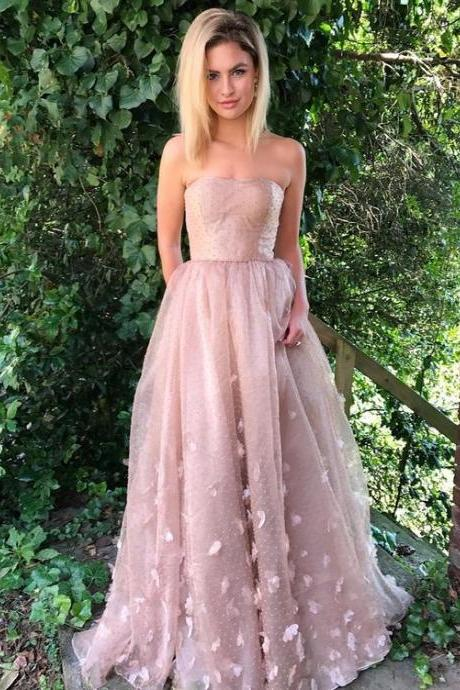 strapless formal evening dresses with appliques, fashion prom party dresses