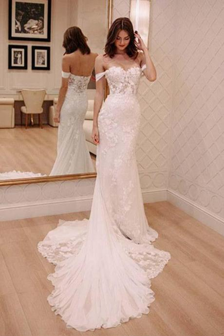 Off Shoulder Court Train Chiffon Wedding Dress with Lace Appliques