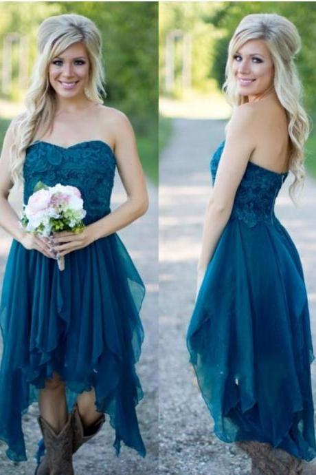 Short Hot Cheap For Wedding Teal Chiffon Beach Lace High Low Ruffles Party Maid Honor Gowns