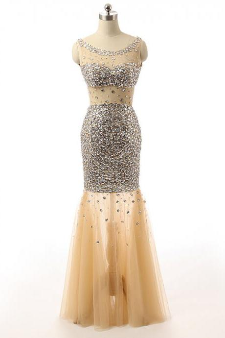 Women Mermaid Golden Beading Sequins Long Prom Dresses 2018 Tulle Formal Party Dress