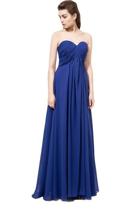 Simple Bridesmaid Dresses,Royal Blue Bridesmaid Dress,chiffon bridesmaid dress