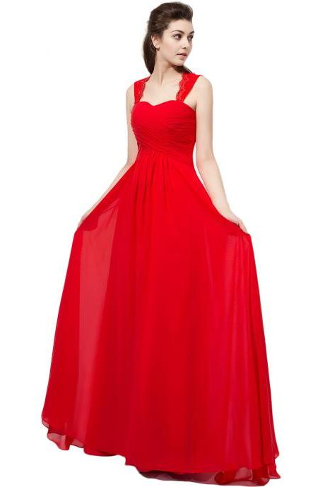 Red Prom Dresses Chiffon Formal Dresses With Lace Straps