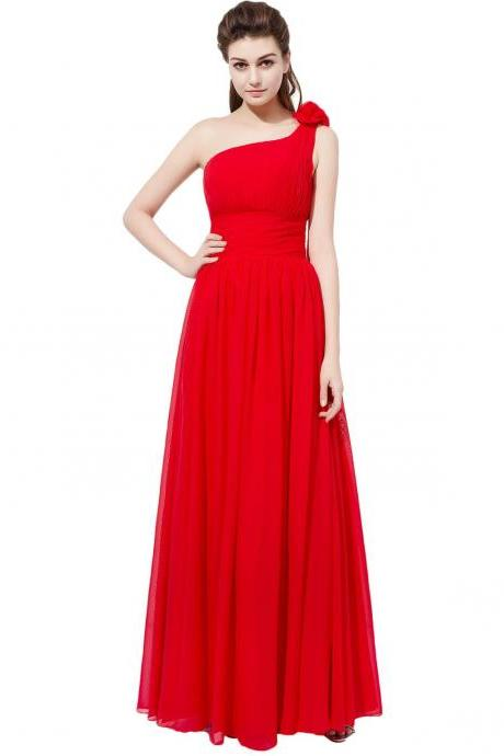 Floor Length Red Chiffon Formal Dresses Featuring Floral One Shoulder Long Elegant Prom Dress