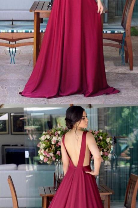 Deep V-neck Long Chiffon Open Back Bridesmaid Dresses
