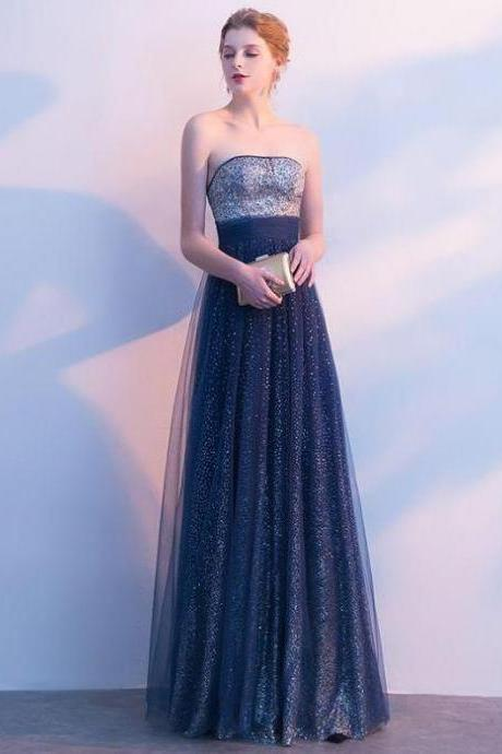 Beautiful Prom Dresses Strapless A-line Sexy Ombre Prom Dress Long Evening Dress