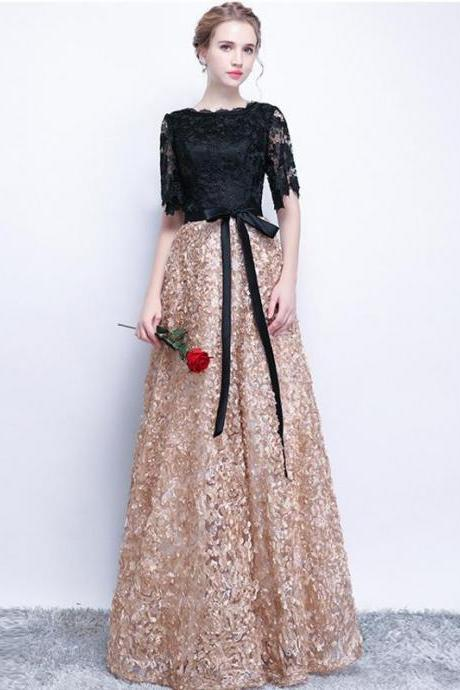 Black Prom Dresses A-line Half Sleeve Long Prom Dress Sexy Evening Dress