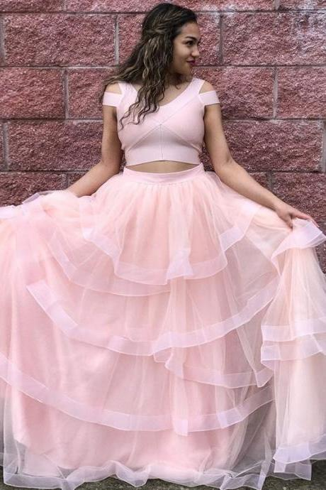 Princess Two Piece Pink Long Prom Dress,Tulle Evening Dresses