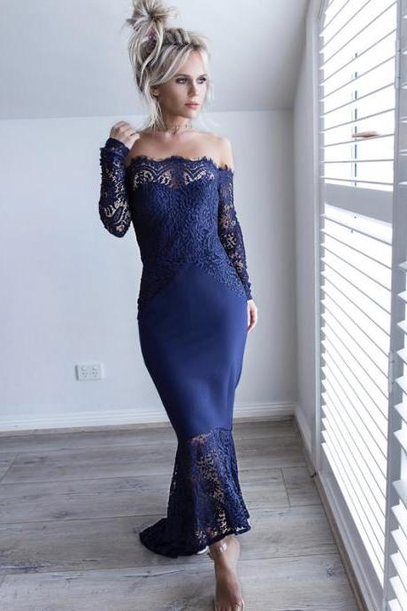 Off Shoulder Prom Dress, Jersey Prom Dress, Mermaid Prom Dress