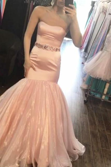 blush pink satin mermaid prom dresses with crystal beaded sashes