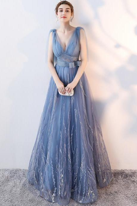 Tulle Prom Dresses, V-Neck Prom Dresses, Backless Prom Dresses
