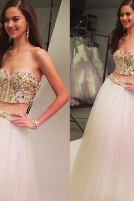Two Pieces Sweetheart Prom Dress,Long Prom Dresses,Prom Dresses,Evening Dress, Prom Gowns, Formal Women Dress,prom dress