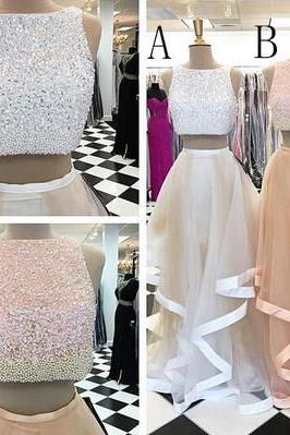 Pretty Two Pieces Beading Tulle Homecoming Dresses,Handmade Prom Gowns,Cheap Prom Dress