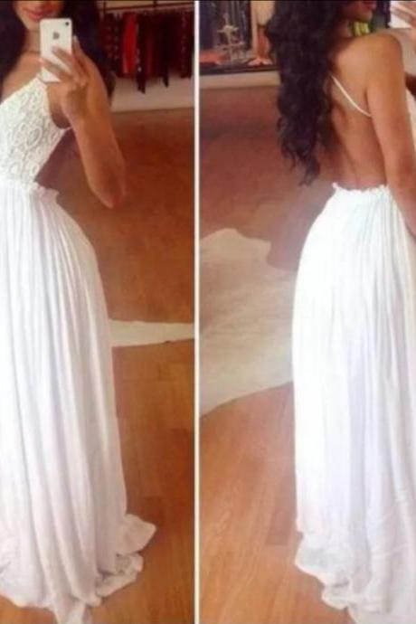 Custom Made A Line White Backless Long Prom Dresses, Party Dresses