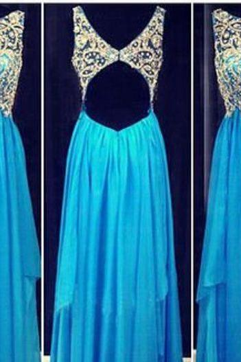 Custom Made A Line Round Neck Blue Floor Length Prom Dresses, Formal Dresses, Evening Dresses