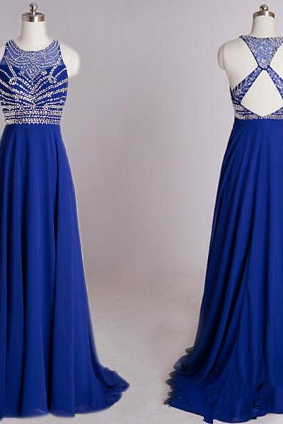 Custom Made A Line Round Neck Prom Dresses, Long Evening Dresses, Formal Dresses