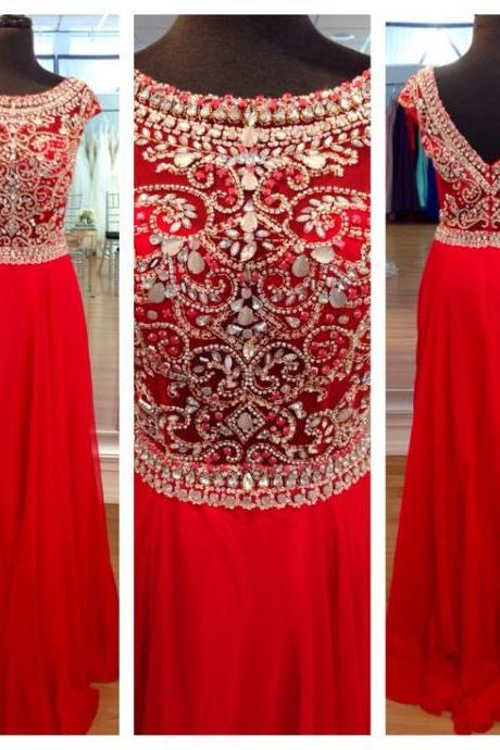 Custom Made A Line Round Neck Red Long Prom Dresses, Long Evening Dresses, Formal Dresses