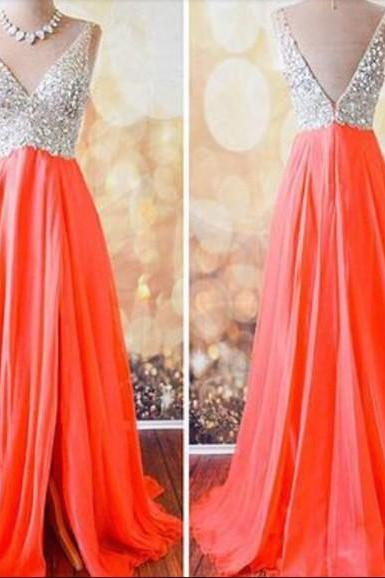 Custom Made V Neck Long Prom Dresses, Evening Dresses, Formal Dresses