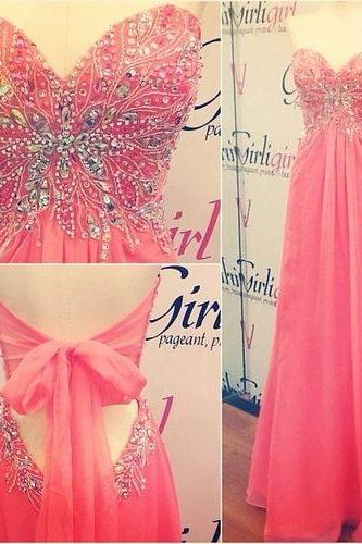 Custom Made A Line Sweetheart Neck Long Prom Dresses