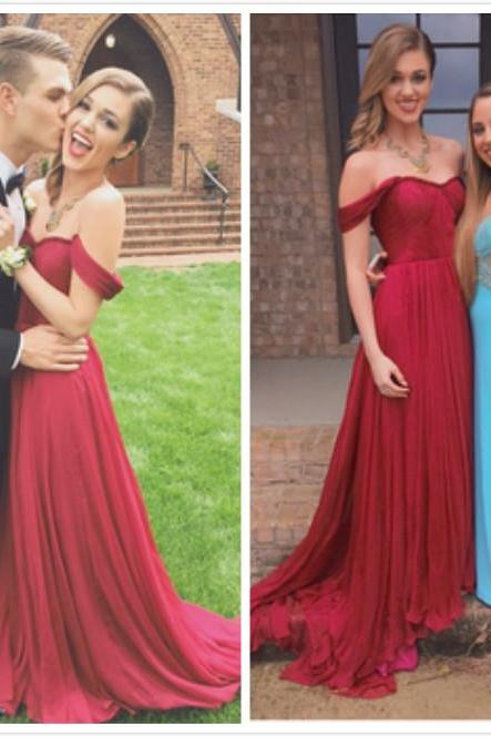 Custom Made Off Shoulder Dark Red Long Prom Dresses, Long Evening Dresses, Formal Dresses