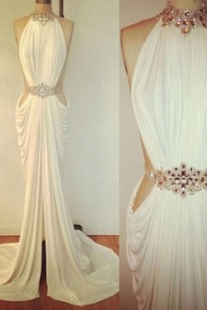 Custom Made A Line Ivory/ Black Long Prom Dresses, Evening Dresses, Formal Dresses