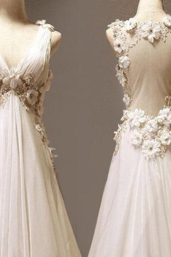 Custom Made A-line V-neck Neckline Court Train Wedding Dress/ Custom Long Wedding Dress/ Bridal Dresses 2017