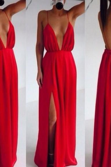 Custom Made Red Backless V Neck Prom Dresses 2017, Red Backless Formal Dresses, Backless Evening Dresses