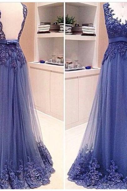 Custom Made Backless V Neck Lace Prom Dresses 2017, Backless Lace Evening Dresses, Lace Formal Dresses