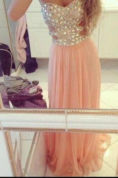 Custom Made A-line Strapless Rhinestone Long Prom Dresses, Evening Dresses, Formal Dresses